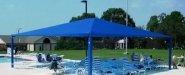 مظلة شمسية تخفف من حدة الشمس وتمنع سقوط الشوائب على الماء وتستر المكان