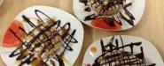 سينابون بالصوص اﻷبيض مع:(الشوكولا/الفراولة/الكاراميل)= 2دينار/حبة كبيرة