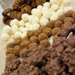 walnut,ferrereo,coconut, and rice krispies cookies